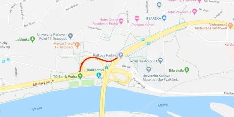 Mapa s ukázkou sjízdné rampy při úpravě vozovky
